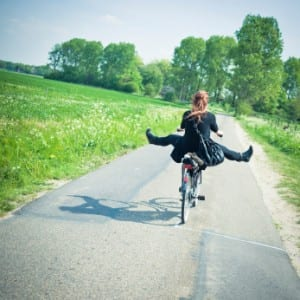 Girl on bike exercise